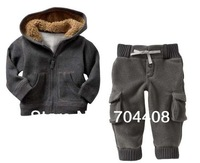 Free shipping winter clothing for boys Gray warm baby boys fashion clothes Jacket + pants 4set/lot