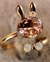 2013 New Free shipping Girl Sweet Crystal Rabbit Shaped Can Opening Rings White/Pink LH11110708