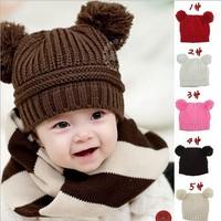 Retail 1pcs ! Free Shipping! 5 Colors! 0-3Y Babys Double Yarn Ball Winter Cap Kids Woolen Hat Children Infant Skull Cap