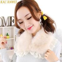 Autumn and winter wool lace false collar faux fur collar female