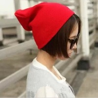 Harajuku neon color fashion yarn knitted hat women's autumn and winter hat