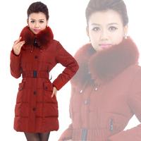 Winter outerwear down cotton-padded jacket female medium-long large fur collar slim wadded jacket women's