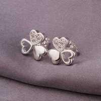 Hot Sale!Free Shipping 925 Silver Earring,Fashion Sterling Silver Jewelry,Cute Zircon Heart Earrings SMTE315
