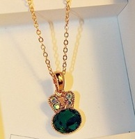 2013 New Free shipping Sweet Girl Cute Gem Inlaid Bunny Shaped Necklace Green YW12042401
