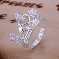 Free Shipping 925 Sterling Silver Ring Fine Fashion Zircon Crown Ring Women&Men Gift Silver Jewelry Finger Rings SMTR034