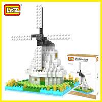 LOZ diamond blocks models & building set plastic educational enlighten toys for children free shipping architect Dutch windmill