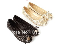 Free shipping flat shoes women 2013 square toe plus size glitter metal pendant dress shoes bling bling bows ballerina shoes