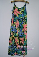 13 modal quality flower graphic patterns suspender skirt plus size