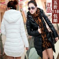 Winter women's elegant solid color slim PU plus size down cotton-padded jacket female medium-long hooded wadded jacket