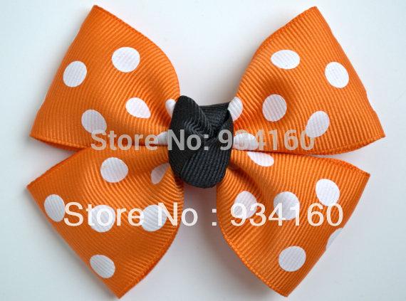 """3.5"""" Halloween Hair Bows - Pumpkin Hair Bow Hairbow Headwear Black and Orange clip 24pcs(China (Mainland))"""