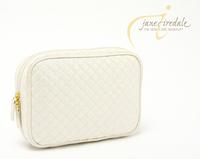 Jane iredale pearlizing elegant beige plaid cosmetic dimond storage bag small bag
