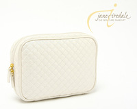 Jane iredale pearlizing elegant beige plaid cosmetic dimond storage bag small bag