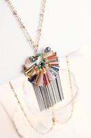 Handmade crystal multicolour tassel long necklace necklace