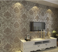 High Quality 10M,Damask Pattern Style Flocking Non-Woven Wallpaper Rolls,Coffe,Bedroom.TV
