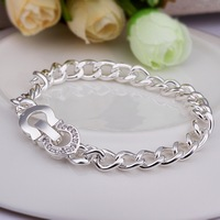 Wholesale Fashion Jewelry, H326 New Arrival 925 Silver Austrian Crystal Link Chain Bangles(Min order $10 is Mixed Order)