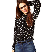 DropShipping Casual Lady Chiffon Blouse Button Down Polka Dot Shirt Retro Long Sleeve Tops FreeShipping