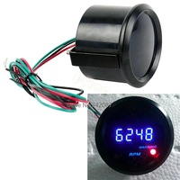 "3pcs/Lot New Universal  Car 2"" 52mm Blue LED Digital Gauge Tacho Tachometer  RPM Wholesale TK1047"