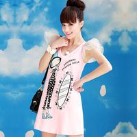 Free Shipping Brand New 2014 10040 2014 autumn women's Pink yarn girl pattern one-piece dress t