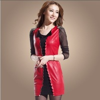 Free shipping 2013 new women's PU leather sexy dress gauze assembly, leather vest dress jacket # G359