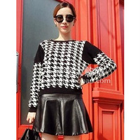 East Knitting Small zipper decoration rabbit hair houndstooth sweater  Free shipping
