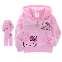 Retail Girls Baby Suit Children's Hello Kitty clothing sets girls pink suit kids suit Hello Kitty suit KT cartoon Shirt+Pants