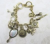 2013  Free shipping  Women's New Arrival Korea Hot Sale Frog Mirror Heart Embellished Bracelet Bronze YW11112901