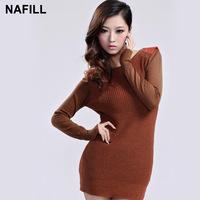 Autumn and winter one-piece dress one-piece dress long-sleeve autumn one-piece dress autumn dress wool skirt