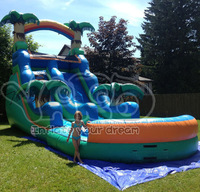 Jungle super inflatable water slide,water slide with pool