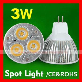 10pcs/lot 3W MR16 LED Spot Light LED Lamp Cold White LED Bulb Lamp DC 12V