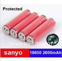 Freeship 2pcs/lot sanyo 2600 protected  Li-ion Rechargeable 18650 Battery 2600mAh for LED torch/flashlight/Digital Camera