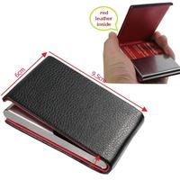 Black Aluminum Pocket Waterproof red inside Business ID Credit Card Holder Case