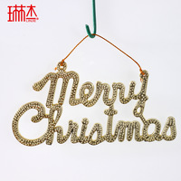 10pcs/lot Long 11.5cm 6cm gold plate christmas tree decoration christmas tree merry christmas word