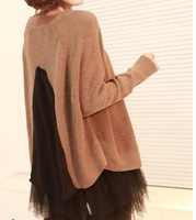 2013 women's cloths  fashion all-match loose chiffon patchwork knitted sweater spaghetti strap tulle dress twinset