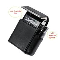 Black Leather Cigarette Case purse & Lighter pouch lighter NEW