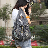 hot sale jeans backpack student messenger bag high quality denim fashion design for girl blue colors wholesale drop shipping