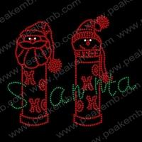New Design Cute Santa Claus Rhinestone Iron Ons Hot Fix Motif Wholesale Heat Transfers 30Pcs/Lot Free Dhl Shipping