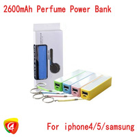 200pcs/lot perfume 2600mAh Power Bank For iPhone ipod add micro usb cable with fashion retail box free fedex shipping