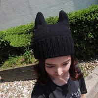 2014 Wool hat qiu dong han female demon cat ear Angle for both men and women in South Korea MaoXianMao knitting  W4211