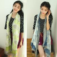 Vintage bali yarn silk scarf spring and autumn scarf fluid spf air conditioning cape female