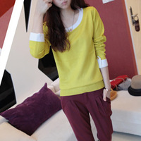 Hot-selling 2013 autumn brief elegant color block decoration hepburn long-sleeve sweater female elegant basic shirt