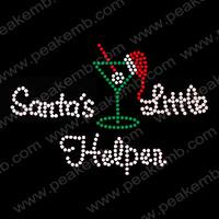 2013 New Design Santa'S Little Helpen Korean Rhinestone Transfer Hotfix Transfer Crystal Appliques 50Pcs/Lot Free Shipping