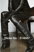 2013 Wholesale hot selling top leather Italian design women boots free shipping knee high boots dropship
