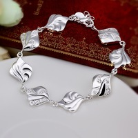 Wholesale Fashion Jewelry, H334 High Quality New Arrival 925 Silver Austrian Crystal Chain Bangles(Min order $10 is Mixed Order)