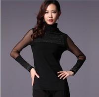 Free Shipping Dress New Fashion 2014 Sping Winter Brand Women Clothing  Long Sleeve Diamond Plus Size Turtleneck Elastic T Shirt