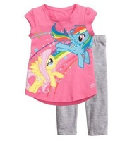 hot selling child baby boys girl kids cartoon my little pony clothing set short sleeve pajamas suit,Children's cute sleepwear