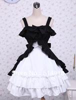 Tomsuit Classic Black and White Spaghetti Strap Multi-layer Ruffle Sleeveless Bowknot Sweet Gothic Lolita Dress