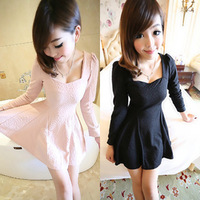 Women's 2013 sexy ladies elegant slim expansion bottom slim waist one-piece dress black autumn ceruminous