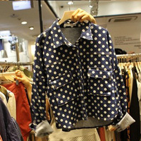 173 e207 women's polka dot denim jacket outerwear