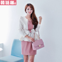 2013 autumn slim ol long-sleeve patchwork faux two piece one-piece dress women's