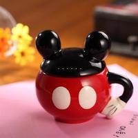 Mickey MOUSE ceramic mug with lid for Children breakfast cartoon mug coffee milk cup #0214